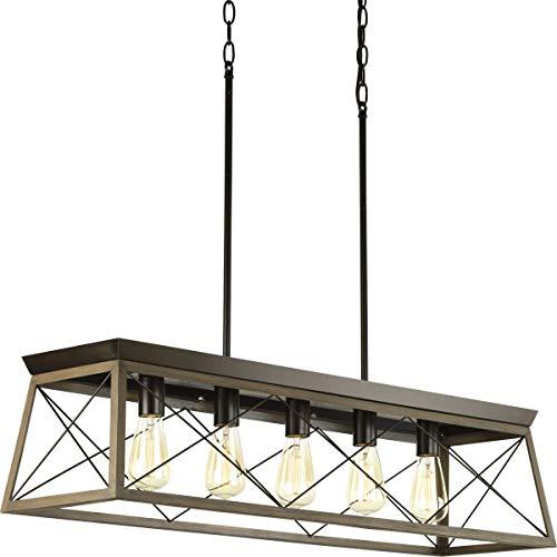 - Progress Lighting P400048-020 Briarwood Antique Bronze Five-Light Linear Chandelier,