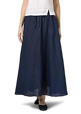 Vivid Linen Long Flared Skirt