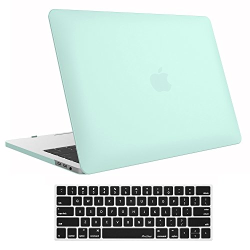 ProCase MacBook Pro 13 Case 2019 2018 2017 2016 Release A2159 A1989 A1706 A1708, Hard Case Shell Cover and Keyboard Skin Cover for Apple MacBook Pro 13 Inch with/Without Touch Bar -Clear Green