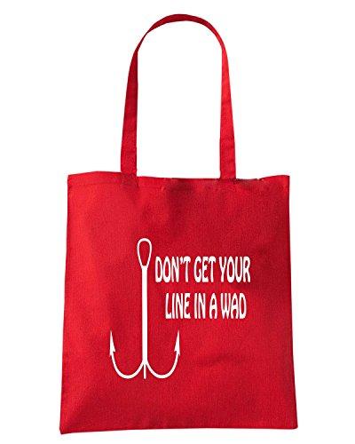 T-Shirtshock - Bolsa para la compra FUN1261 dont get your line in a wad Rojo