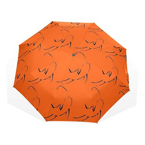 Le Chat Noir Orange Black Cat Outline Halloween Compact Travel Umbrella -