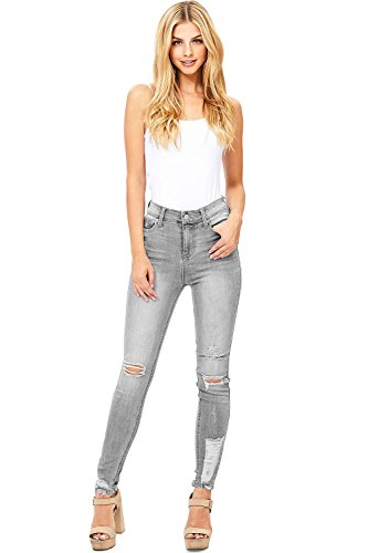 Celebrity Pink Women's Juniors High Rise Ankle Skinny Jeans (1, Grey)