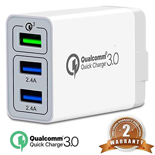 3Port QC3.0 USB Fast Wall Charger, 30W Travel Wall Fast Charger Adapter  QC2.0 Quick Charging Block Plug for iPhoneXs/X/8/7 SamsungS9S8/S7,Note8/7,LG,iPd,Nexus,&More