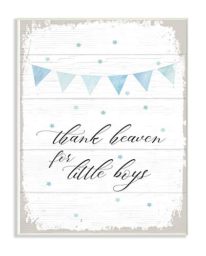 The Kids Room By Stupell Blue Bunting Thank Heaven for Little Boys Planked Look Wall Plaque Art, 13 x 19, Proudly Made in USA