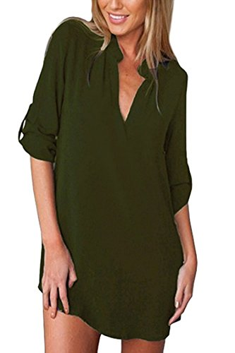 (Womens Plus Size Cuffed Long Sleeve Shirt V Neck Blouse Pocket Scallop Hem Chiffon Tees,Medium/US4-6,Green)