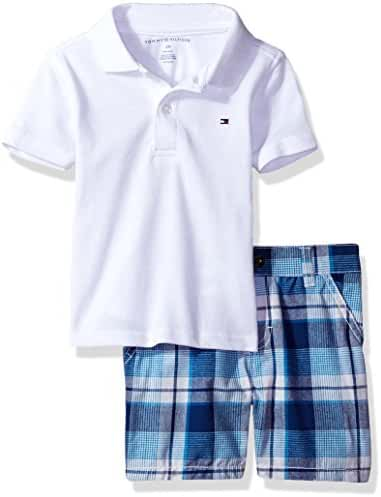 Tommy Hilfiger Baby Boys' 2 Pieces Polo and Plaid Short Sets, White, 12M