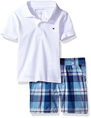 Tommy Hilfiger Boys Baby 2 Pieces Polo and Plaid Short Sets