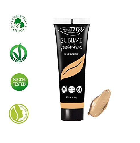 PuroBIO Certified Organic SUBLIME Revolutionary Long-Lasting, Liquid Foundation with Anti-Aging and Mattifying properties, Color 03 Medium. Contains Antioxidants, Vitamins, Plant Oils. ORGANIC. VEGAN. NICKEL TESTED. MADE IN ITALY ...