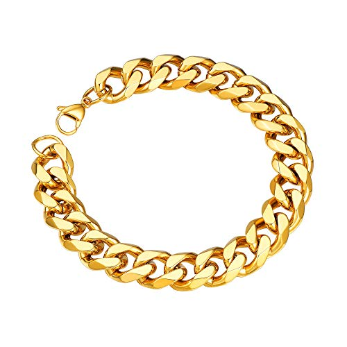 Mens Chunky Gold Bracelet Thick Shiny Heavy Curb Chain Bracelet Women Curb Mens Gold Bracelet