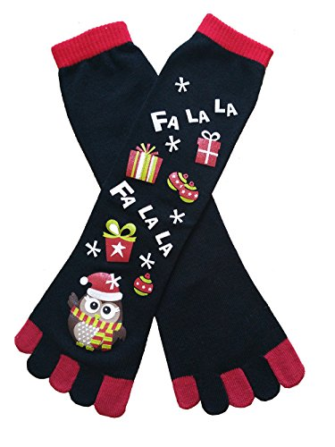 URGREAT Festive Holiday Christmas Socks Toe Sock (Black ()