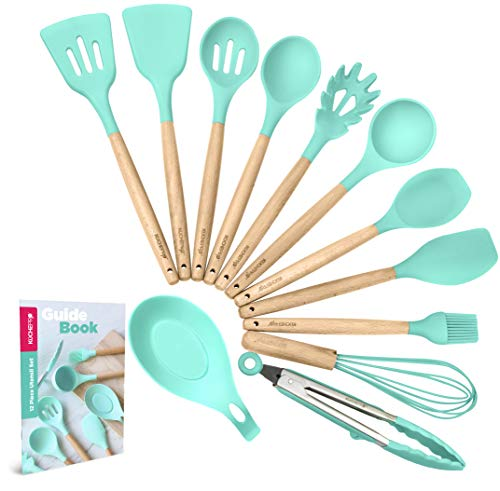 KuchePro 12-Piece Silicone Kitchen Utensil Set - Premium Natural Beech Wooden Handles with Non-Stick Silicone Heat Resistant Cookware for Cooking and Baking Tools