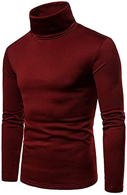 AnyuA męski sweter z długim rękawem sweter z zwijanym kołnierzem bluza duży rozmiar: Odzież