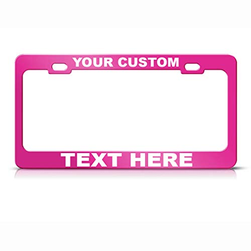 Custom Personalized License Plate Frame Car Steel Tag Holder Hot Pink 2 Holes