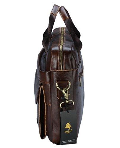 2e025aed2e1b POLO VIDENG M278 Men s Classic Top Cow Genuine Leather Business Handbag  Briefcase Shoulder Messenger Satchel Bag For Laptop Macbook (Tan Brown-CP)   ...