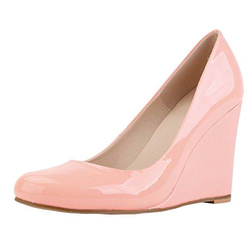 HooH Women's Sweet Candy Color Wedge Pumps Pink w0DubaN