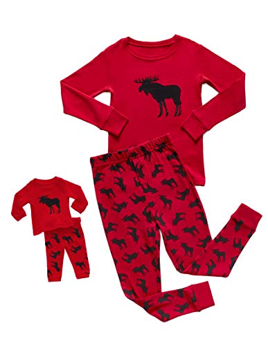 DinoDee Matching Girl & Doll 2 Piece Pajama Set 100% Cotton (2 Toddler -10 Years) (8 Years, Moose)