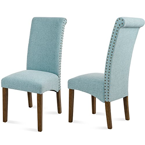 Merax Dining Chair Set of 2 Fabric Padded Side Chair with Solid Wood Legs, Nailed trim (Blue) by Merax