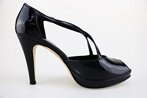 CALPIERRE Zapatos de salón mujer Azul / negro cuero de ante Azul