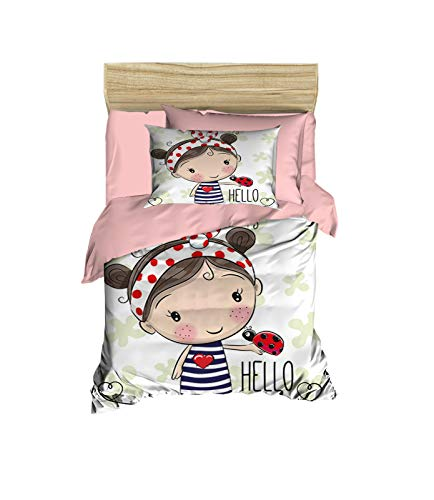 100% Cotton Baby Bedding Little Girl and Ladybug Themed Nursery Baby Bed Set, Toddlers Crib Bedding for Baby Girls, Duvet Cover Set with Comforter, 5 Pieces