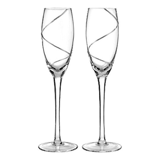 Silver Swirl Champagne Flutes - Set of 2