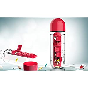 Asobu Combine Daily Pill Box Organizer with Water Bottle, Red