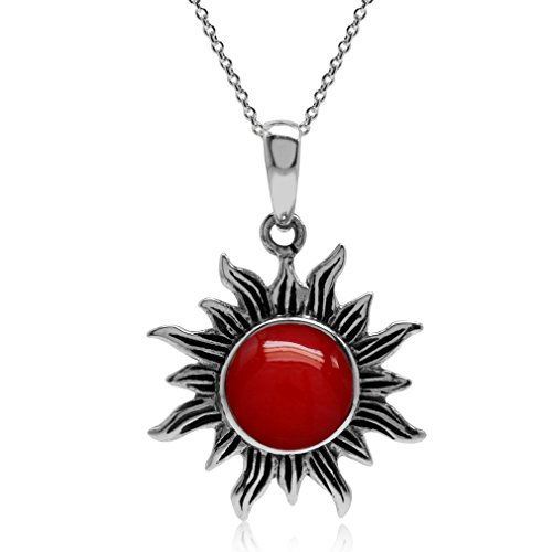 Created Red Coral 925 Sterling Silver Sun Ray Inspired Pendant w/18 Inch Chain Necklace