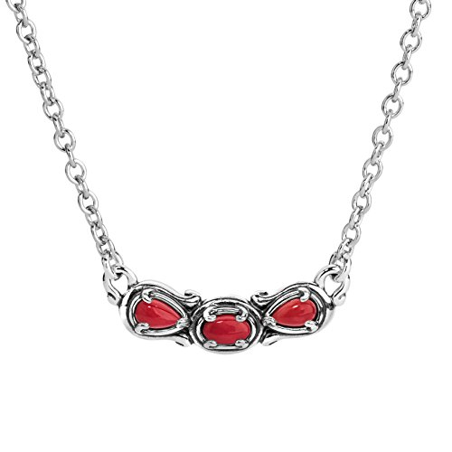 Carolyn Pollack Sterling Silver Red Coral Gemstone 3 Stone Necklace 16 to 18 Inch ()