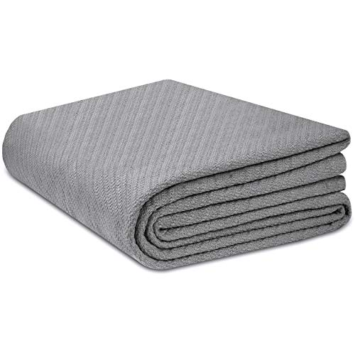 COTTON CRAFT - 100% Soft Premium Cotton Thermal Blanket - Full/Queen Grey - Snuggle in These Super Soft Cozy Cotton Blankets - Perfect for Layering Any Bed - Provides Comfort and Warmth for Years (Waffle Blanket Knit)