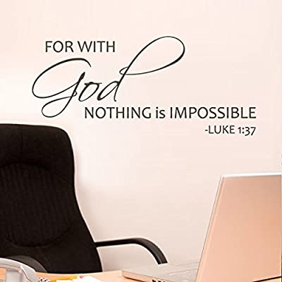 For With God Nothing Is Impossible Bible Wall Decal Religious Wall Quote Christian Wall Sticker Words Phrase Wall Letters Home Art Decoration