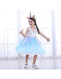 LZH Girl Unicorn Party Dress Cosplay Princess Birthday Party Dress-up
