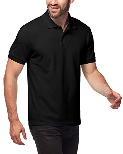 LAPASA Polo Shirt for Men, 100% Cotton, Piqué Knitted Fabric (no Jersey). Longer Back-Hem, Short Sleeve M19 (Black, XL/See Sizechart)