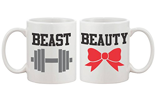 Beauty and Beast Matching Coffee Mugs - Perfect Wedding, Engagement, Anniversary, and Valentines Day Gift for Couples