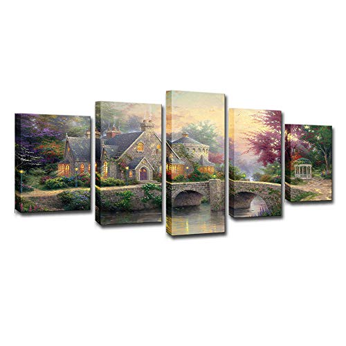Oofay Home Decor Mural Background Wall 5 Plate Light Manor Thomas Kinkade Exquisite Landscape Canvas Print Living Room Bedroom Art Deco Wall Decoration,B,L
