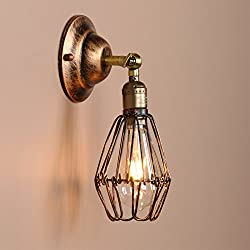 Permo Vintage Retro Antique Opening and Closing Dark Rusty Brown Wire Cage Wall Light Lamp Sconce