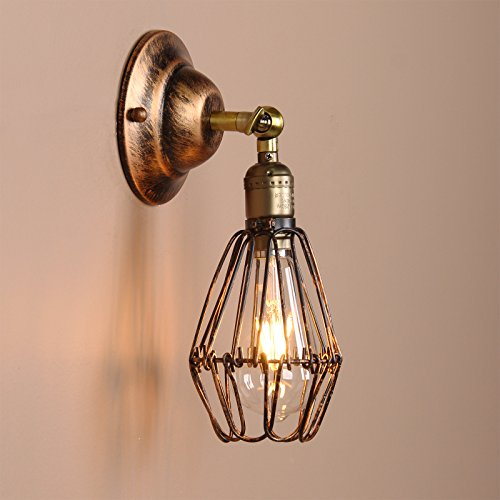 Permo Vintage Retro Antique Opening and Closing Dark Rusty Brown Wire Cage Wall Light Lamp (Antique Brown Wall Light)