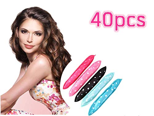 Locisne 40pcs Flexible Foam Sponge Hair Rollers, No Heat Hair Curlers Magic Pillow Soft Hair Rollers Spiral Curls Set Hair Care DIY Hair Styling Rollers Comfy to Sleep on (5 Colors) (Best Hair Rollers No Heat)