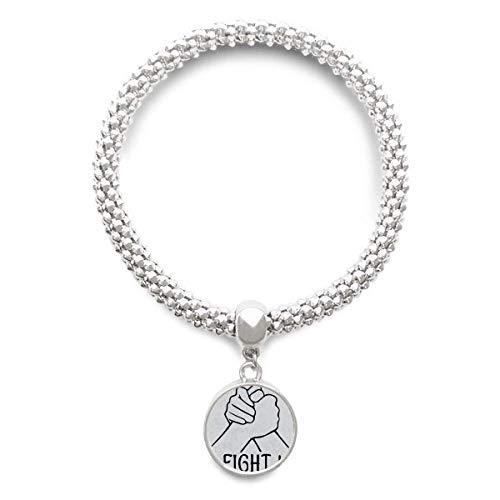 DIYthinker Wrist Wrestling Personalized Gesture Sliver Bracelet Round Pendant Jewelry Chain by DIYthinker