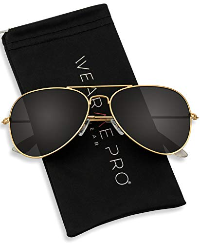 WearMe Pro - Polarized Metal Frame Pilot Style Aviator Sunglasses (Spring Hinge: Gold/Black, ()