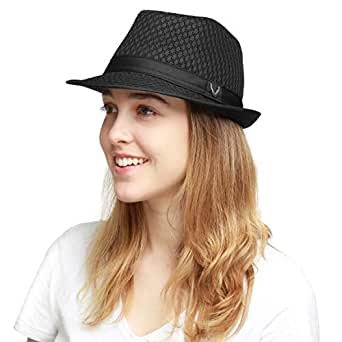 The Hat Depot 200G1015 Classic Cool Soft Mesh Fedora Hat (S/M Black)