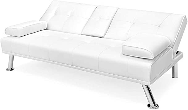 Amazon.com: Convertible Loveseat White Slepper Sofa Bed ...