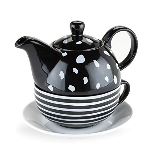 Pinky Up 5062 Addison Black and White Tea-For-One Sets, (White Teapot Black And)