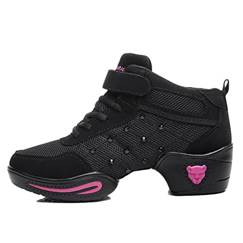 Salle Semelle Respirant Moderne Souple Et Yiblbox Femmes Bal Rose Noir Chaussures De Maille Lacets Baskets Danse qTFwYzSxnt