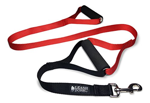 - Leashboss Original - Heavy Duty Two Handle Dog Leash for Large Dogs - No Pull Double Handle Training Lead for Walking Big Dogs (Basic Red)