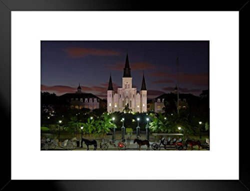 Poster Foundry Jackson Square Dusk Saint Louis Cathedral French Quarter New Orleans Photo Art Print Matted Framed Wall Art 26x20 inch ()