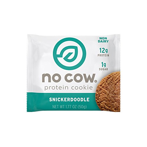 No Cow Protein Cookie, Snickerdoodle, 12g Plant Based Protein, Low Sugar, Dairy Free, Gluten Free, Vegan, 12 Count (Cookie Jars Cow)