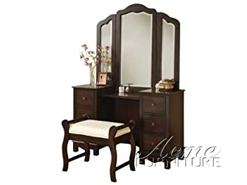 Amazon.com - ACME Furniture Jasper Espresso Bedroom Vanity and Stool ...