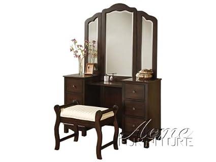 ACME Furniture Jasper Espresso Bedroom Vanity And Stool   Mirror Sold  Separately