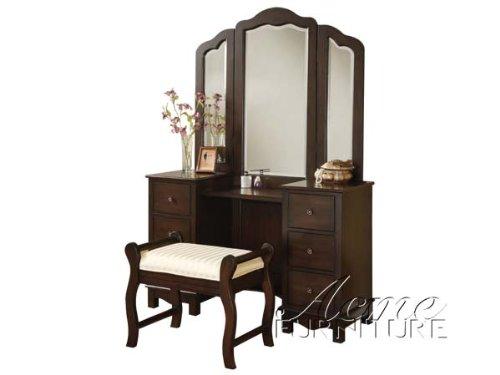 ACME Furniture Jasper Espresso Bedroom Vanity and Stool - Mirror Sold Separately