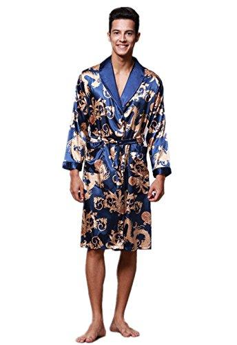 - VERNASSA Mens Satin Robe Silk Long Sleeve Kimono Bathrobe Sleepwear Loungewear Royal Blue