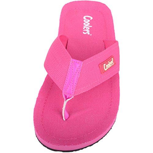 Womens Flip Flops Holiday Shoes Summer Canvas Beach Sandals Pink PqPr7w